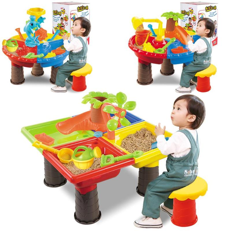 Kids Summer Outdoor Beach Sandpit Toys Sand Bucket Water Wheel Table Play Set Toys Children Learning Education Toy Baby Birthday