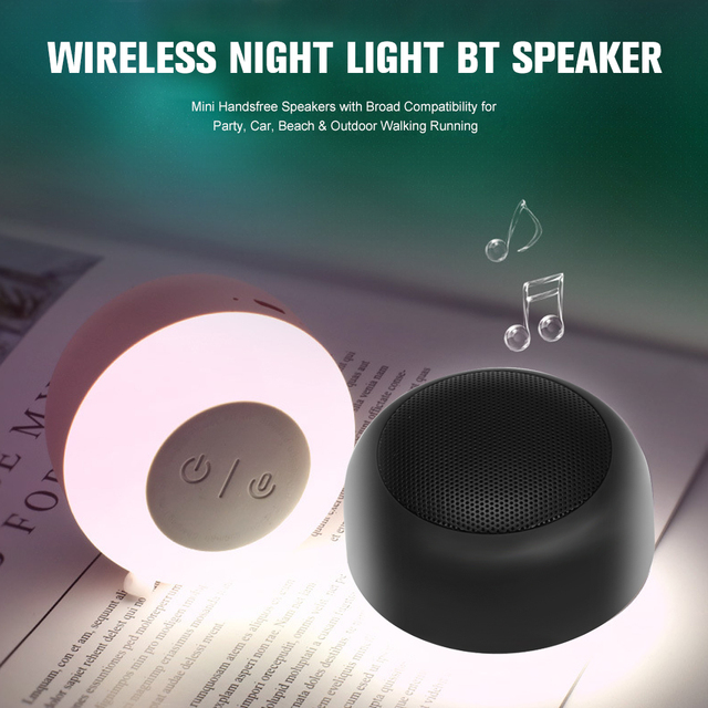 Portable Wireless Night Light Bluetooth Speaker Mini Handsfree Speakers with Broad for Party Car Beach Outdoor Walking