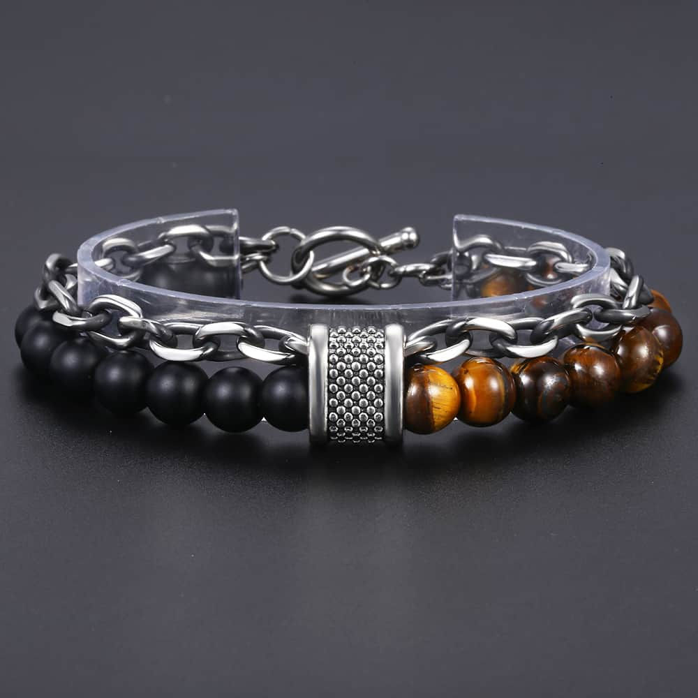 Men 39 s Tiger Eye Stone Beaded Bracelet Stainless Steel Gunmetal Link Chain Yoga Bracelet Male Jewelry Dropshipping 14mm KDBM24 in Chain amp Link Bracelets from Jewelry amp Accessories