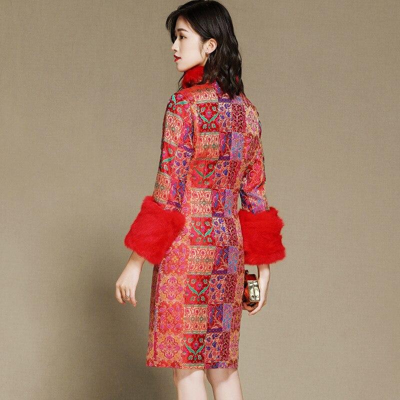 SHENG COCO Cheongsam Blouse nouvel an vêtements Chinois rouge Shanghai Tang Chinois manteau à manches longues Cheongsam Blouse cheveux de lapin - 3