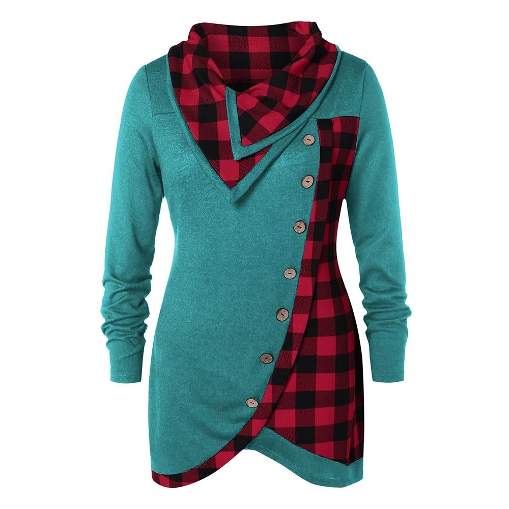 100% QualitäT Skew Taste Plaid Gespleißt Plus Größe Shirts Frauen Mode Großen Hof T-shirts Modernes Design