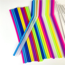 12PCS Reusable Straws Drinking Silicone gel with Brushes child food degree colorful