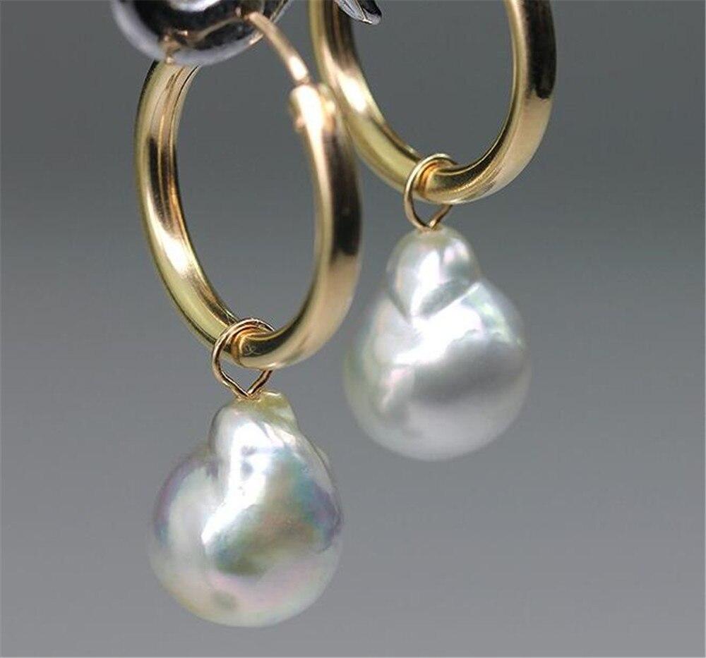 13-14MM HUGE baroque south sea pearl earrings Mesmerizing earbob party AAA