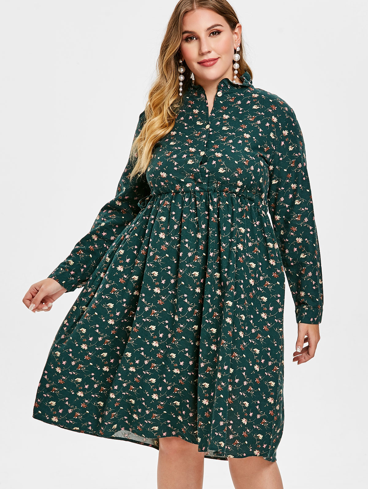 Wipalo Women Spring Plus Size Half Button Floral Print Flare Dress Shirt  Collor Long Sleeves High 9ad18685c659