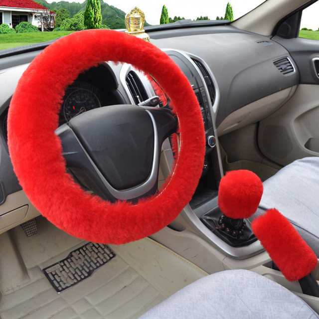 Universal Steering-wheel Plush Car Steering Wheel Covers Winter Faux fur Hand Brake &amp Gear Cover Set Car Interior Accessories