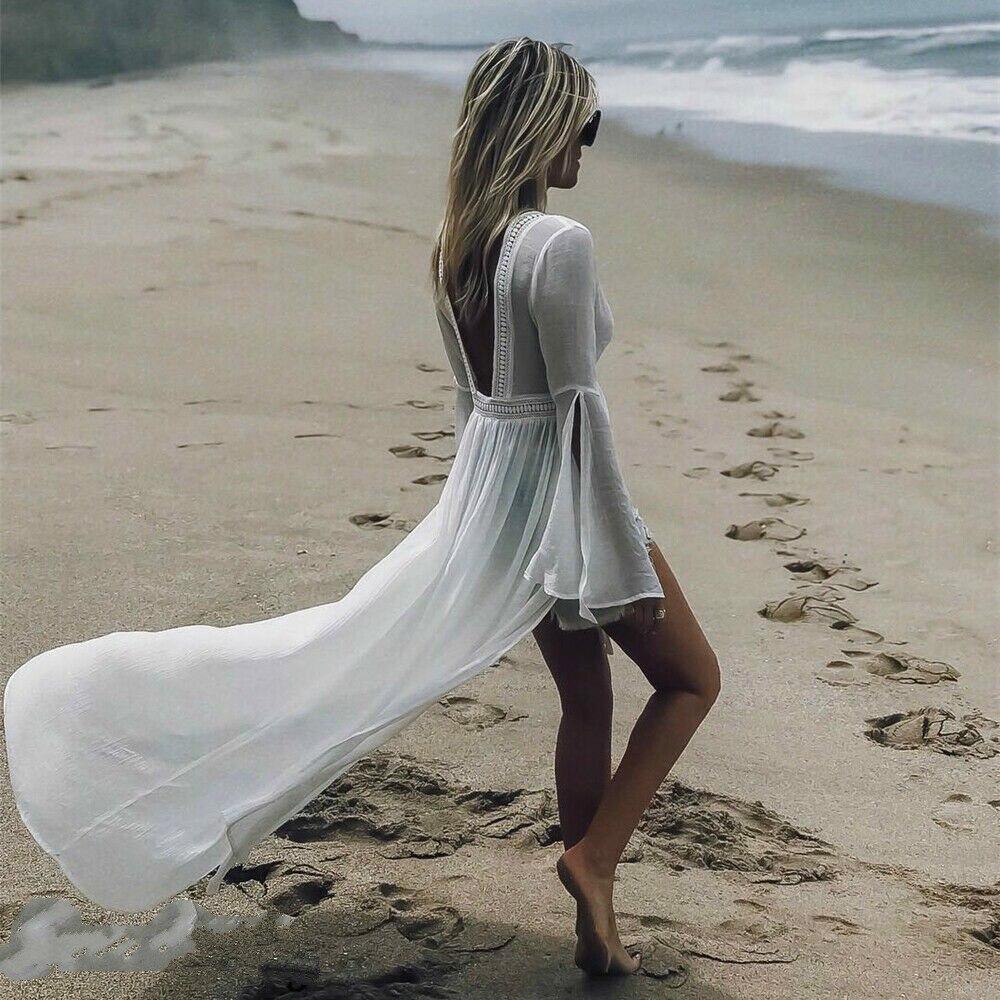 2019 HOT Women's Beach Dress Sexy White Tulle Halter Bikini Cover-Ups Long Beachwear