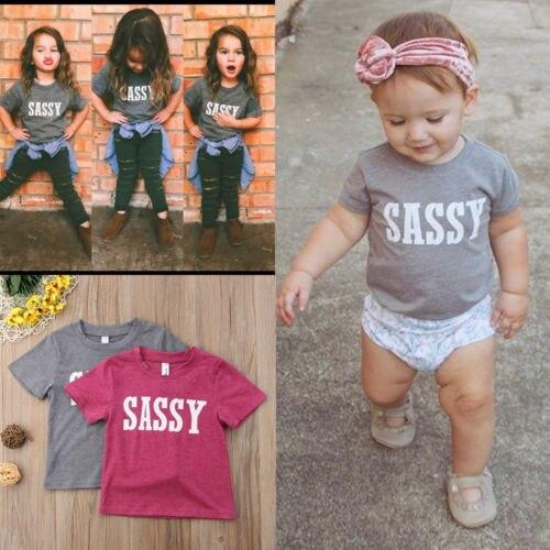 Casual New Kids Trẻ Sơ Sinh Bé Trẻ Em Trai Cô Gái SASSY Thư Tops T-Shirt Tee Áo Trang Phục Mùa Hè 0-4Y