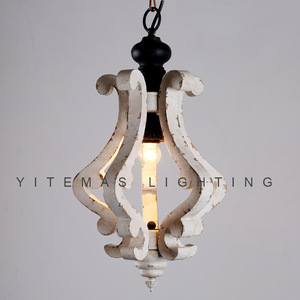 Image 3 - Farmhouse vintage białe drewno żyrandol oprawa oświetleniowa małe antyczne wiszące francuski żyrandol światło do jadalni 1 światło