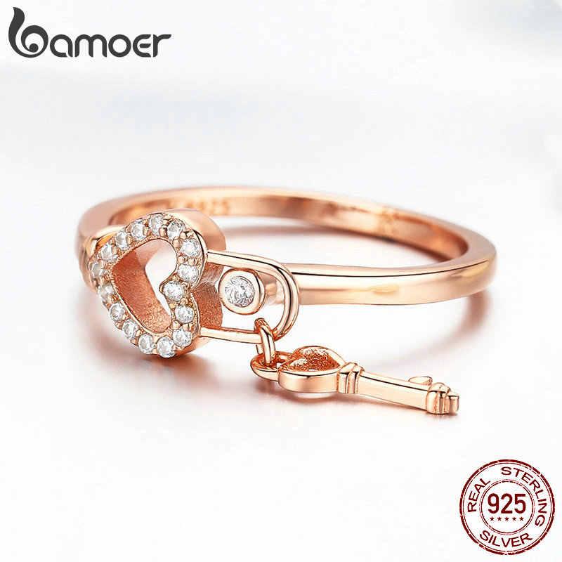 BAMOER โรแมนติกใหม่ 925 เงินสเตอร์ลิง Heartlock แหวนหัวใจ & Love Key แหวนเครื่องประดับ Anel SCR501