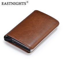 EASTNIGHTS Credit Card Wallet Aluminum with PU leather Business Holder Wallets Mini RFID Metal For Men and Women