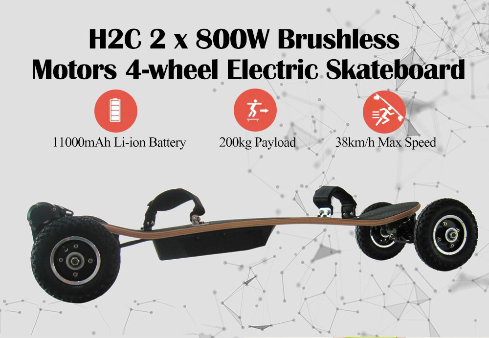 H2C 2X800 W Brushless Moteurs 4-Roue skateboard électrique Glisser Conseil 11000 batterie mah skateboard électrique Avec télécommande