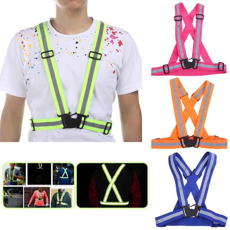 Elastic Ribbon Adjustable Reflective Safety Security High Visibility Vest 46-70cm Gear Stripes for Night Outdoor Activities