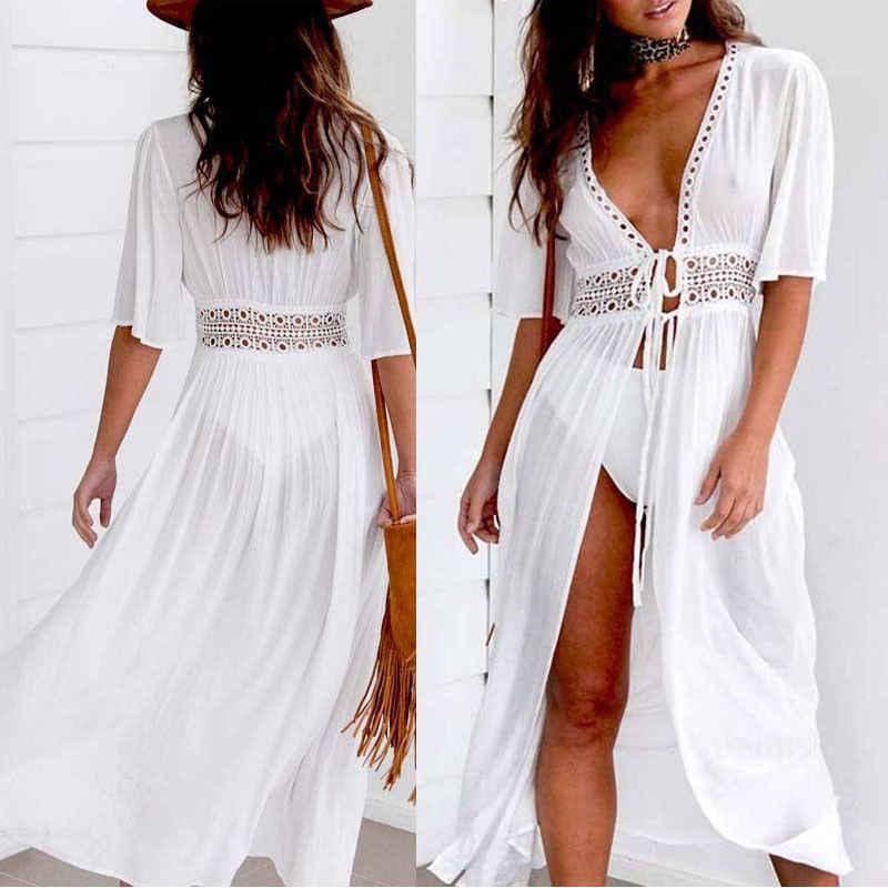 Sexy Dames Vrouwen Solid Witte Bikini Cover Up Beach Jurk Badmode Chiffon Beachwear Badpak Zomer Vakantie Kimono Vest