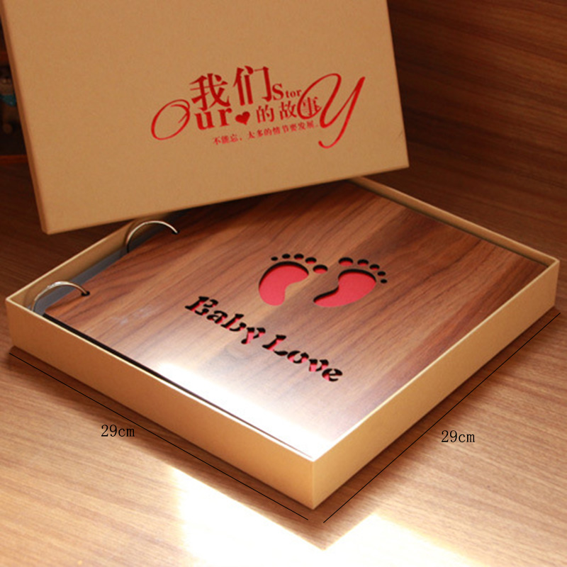 DIY Album 16 inch Wooden Hand pasted Baby Couple Family Album Gift Box Photo Album Scrapbook Wooden Cover Gallery Birthday Gift