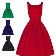 e89b82d9b0 Kobiety letnia sukienka Hepburn lat 50 s 60 s Retro sukienka swing w stylu  vintage-