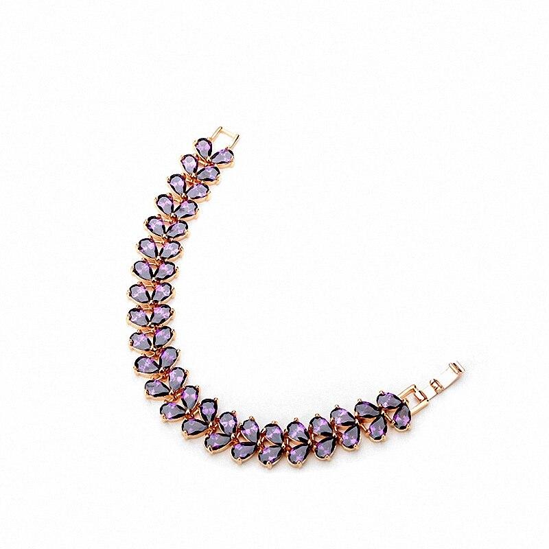 Фиолетовый циркониевый браслет, ювелирное изделие, огранка из кубического циркония, цепочка, браслет для женщин, модный дизайн растений, бр