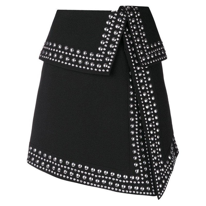 Image 4 - TWOTWINSTYLE Heavy Rivets Patchwork Skirt Female High Waist Sexy Asymmetrical Skirts For Women 2019 Spring Casual Fashion Tide-in Skirts from Women's Clothing
