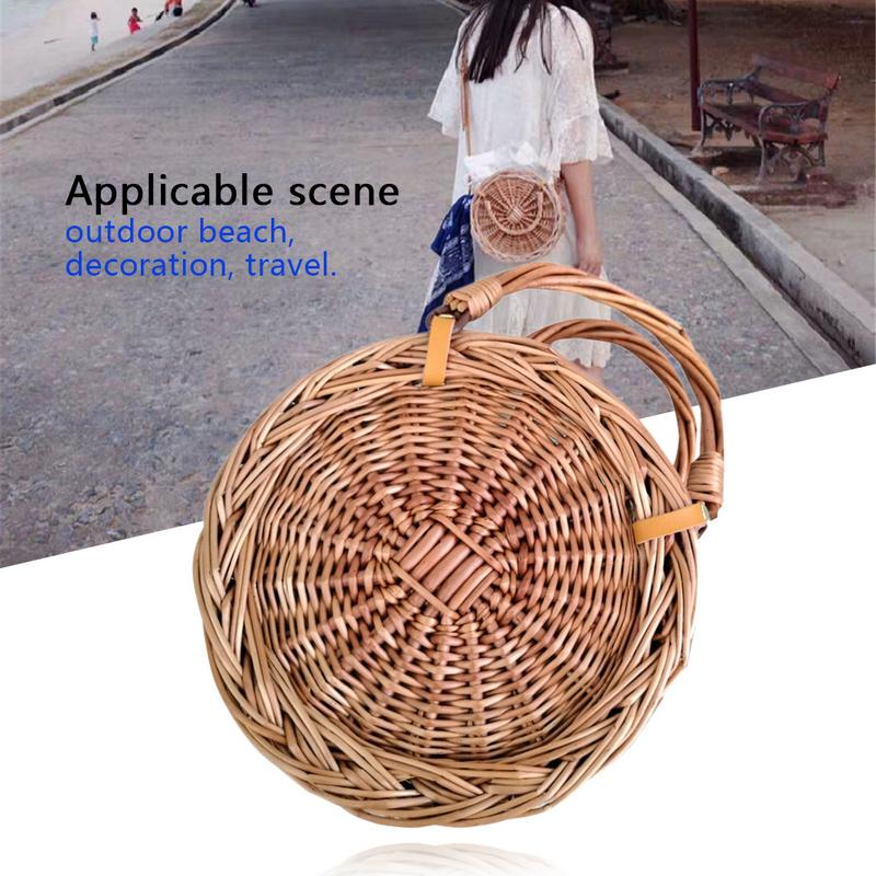 Ins Style Straw Braided Rattan Handbag Messenger Bag Women's Small Round Beach Bag