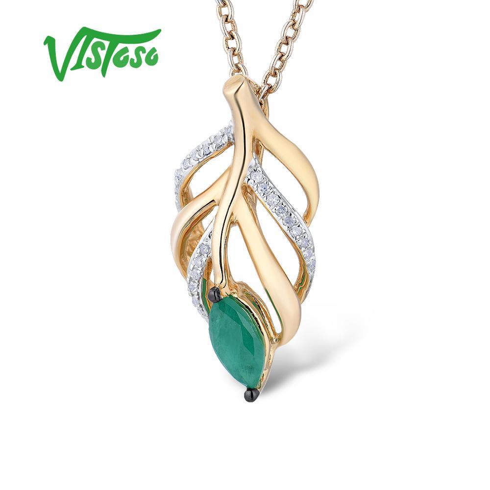 VISTOSO Oro Pendenti con gemme e perle Per Le Donne Autentico 14K 585 Oro Giallo Hollow Foglie Magia Smeraldo Diamante Scintillante Elegante Gioielleria Raffinata