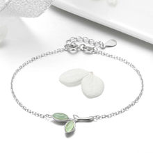 BISAER Chain Bracelet Sterling Silver Opal Green Leaf Bud Bracelet Valentine Gifts for Women Silver 925 Jewelry Ali Mode GXB112(China)