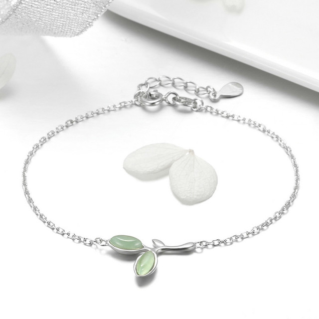 BISAER Chain Bracelet Sterling Silver Opal Green Leaf Bud Bracelet Valentine Gifts for Women Silver 925 Jewelry Ali Mode GXB112