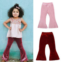 2019 Toddler Kids Baby Girls Bell Bottom Wide Leg Stretch Pleuche Pants Long Trousers(China)