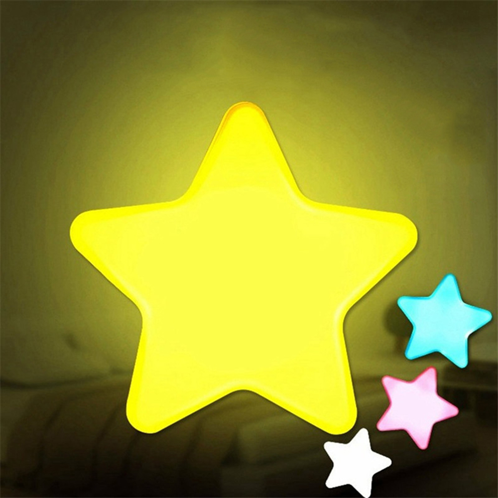 Mini Star LED Night Light AC110/220V Pulg-in Wall Socket Bedside Lamp EU/US Light Sensor Control Novelty Children Room Lighting
