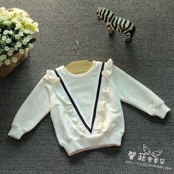 Girls white patchwork Cotton sweatshirts Long sleeved V letter Lotus leaf shirt Children kids soft spring autumn Fashion sweater conjuntos casuales para niñas