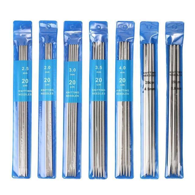 35 개/대 20cm 스트레이트 뜨개질 바늘 뜨개질을위한 스테인레스 스틸 크로 셰 뜨개질 후크 diy 직조 도구 바느질 액세서리