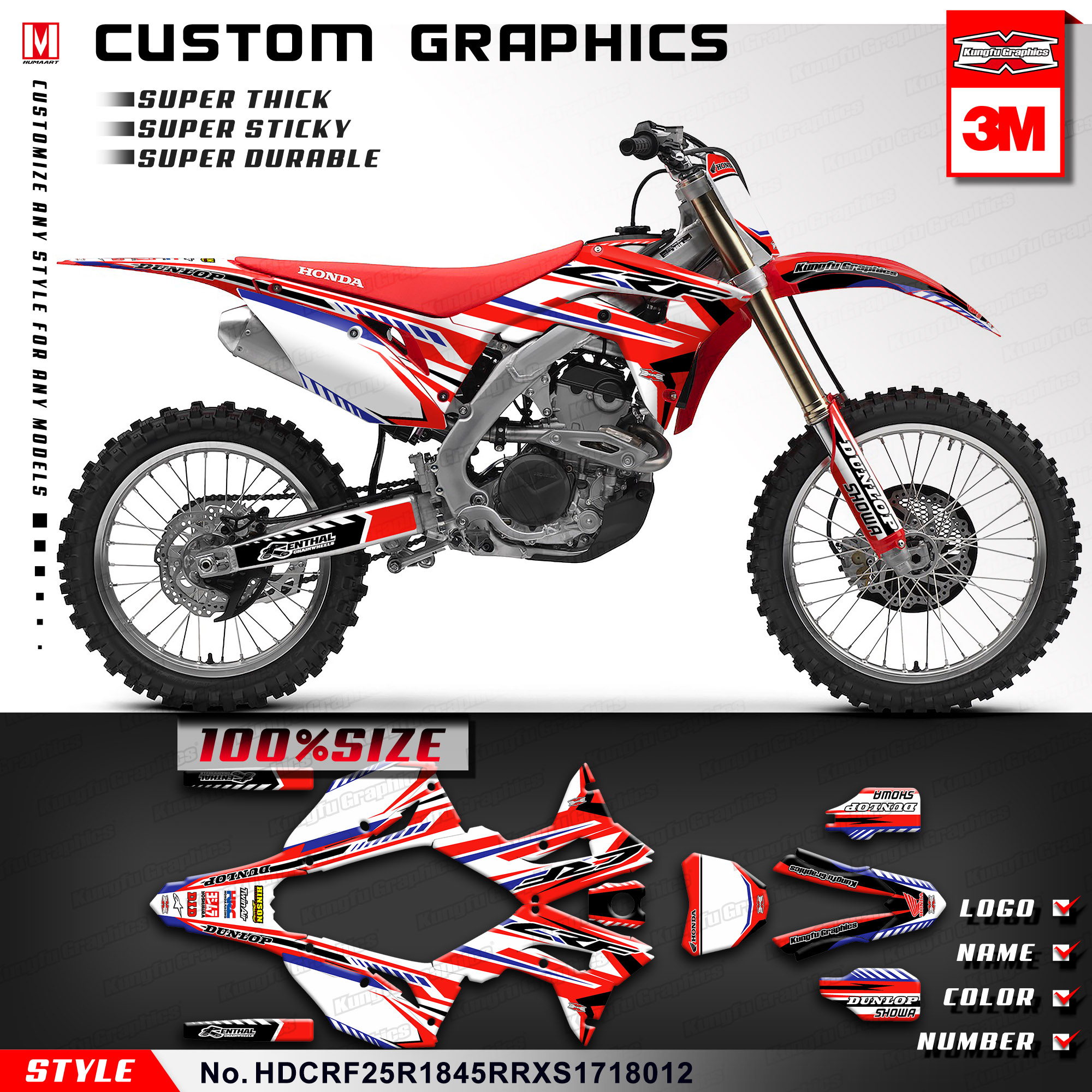 Kungfu graphics custom vinyl wrap motorcycle dirt bike stickers decal kit for honda crf250r crf450r crf450rx supermoto 2017 2018