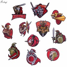Pulaqi Cartoon patch on Clothes Letter Badge Embroidery Patch Greece The 300 Spartans Gladiator Iron On Patches For Clothing Diy