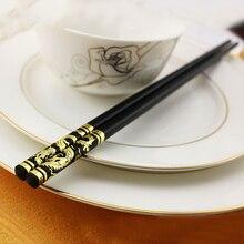 1 пара 27 см золотой дракон феникс китайские японские палочки для еды Нескользящие сплав суши Chop палочки набор китайский подарок