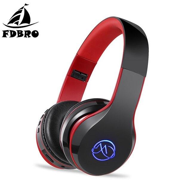 9f2e0f21472 FDBRO BH7 Bluetooth Headphone HiFi Stereo Bass Wireless Headset LED Light  Glowing Foldable Sport Earphone With Mic Earbuds