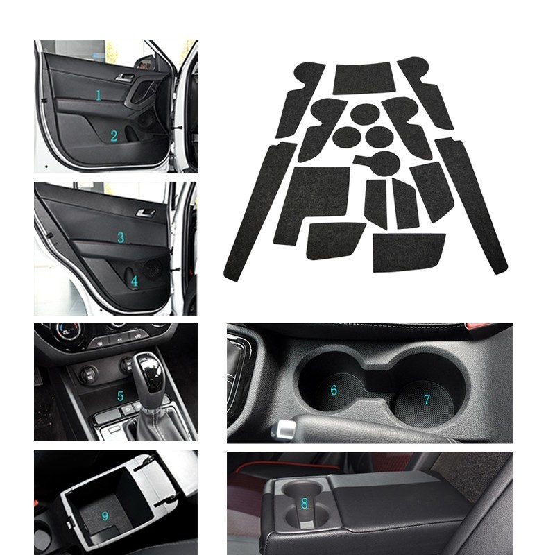 17 Pcs Door Groove Mat Felted Wool Mat For Hyundai Creta Ix25 2015- 2018 Gate Slot Mat Pad Anti-Slip Car Styling Accessories
