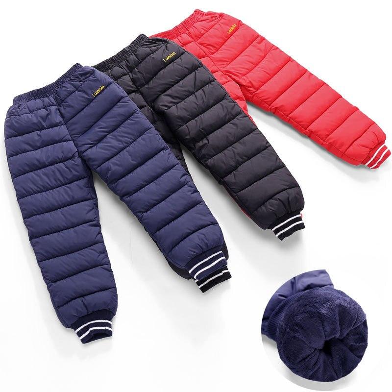 2018 Winter Neue Mode Kinder Unten Baumwolle-gepolsterte Verdickung Samt Warme Hosen Kinder Soild Erhöhen Unten Hosen