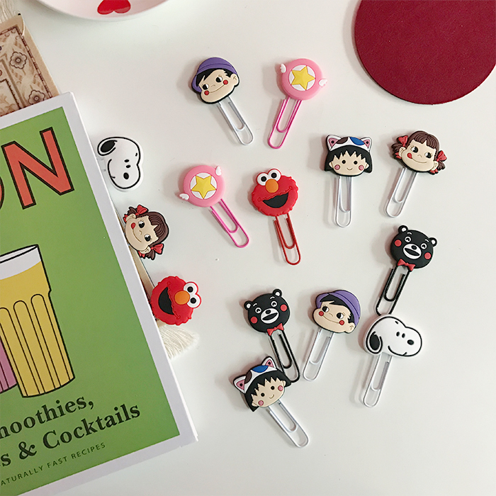 Kawai Cartoon Rogue Dog Milky Girl Star Bear Paperclips Paper Clip Bookmark Stationery School Office Supply Escolar Papelaria