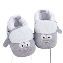 Мягкие детские туфли с рисунками животных для новорожденных мальчиков и девочек зимние теплые хлопковые детские прогулочные туфли унисекс