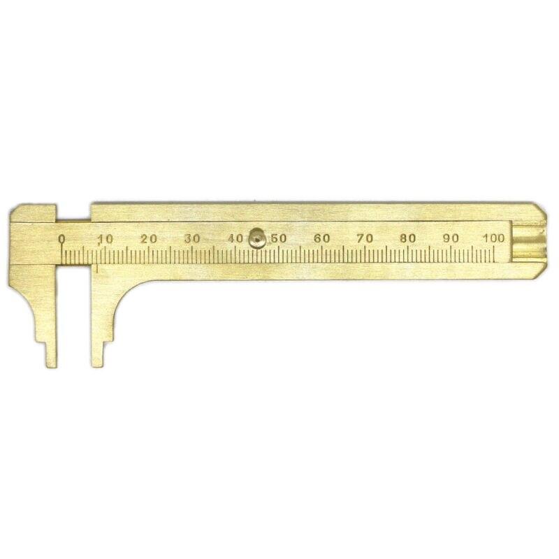 Mini 100mm Metal Scale Brass Gauge Vernier Caliper Ruler Pocket Measuring Tool in Calipers from Tools