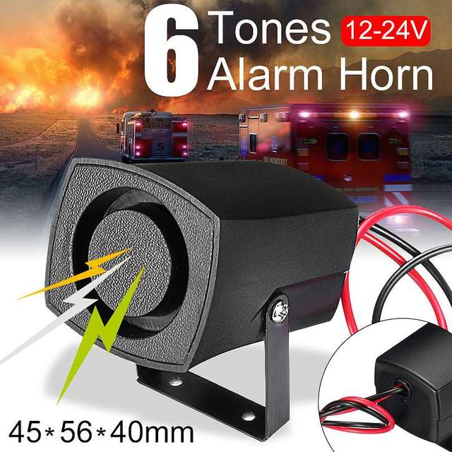 US $2 89 41% OFF|12 24V Car Policemen Fires Alarm Horn 6 Tones Warning  Siren Beeper Buzzer Car Alarm Sound-in Multi-tone & Claxon Horns from
