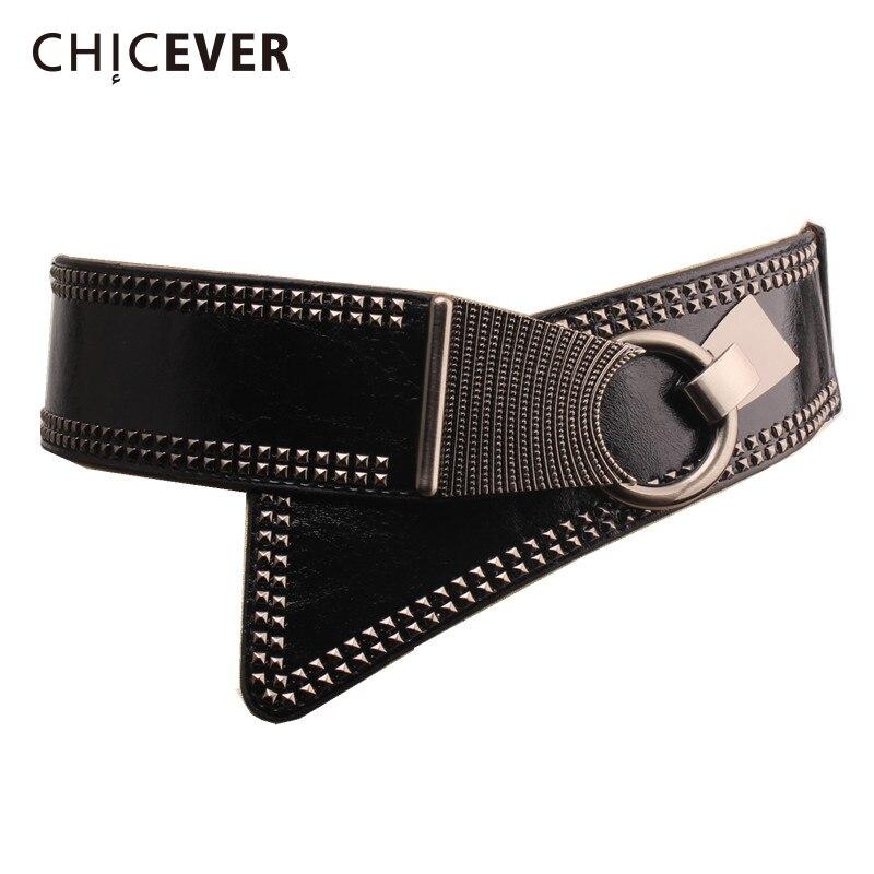 CHICEVER 2019 PU Leather Women Cummerbunds Rivet Femlae Belts Fashion New