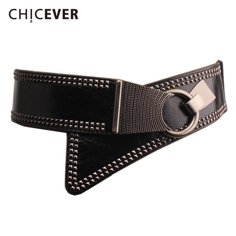 CHICEVER 2020 PU Leather Women Cummerbunds Rivet Femlae Belts Fashion New