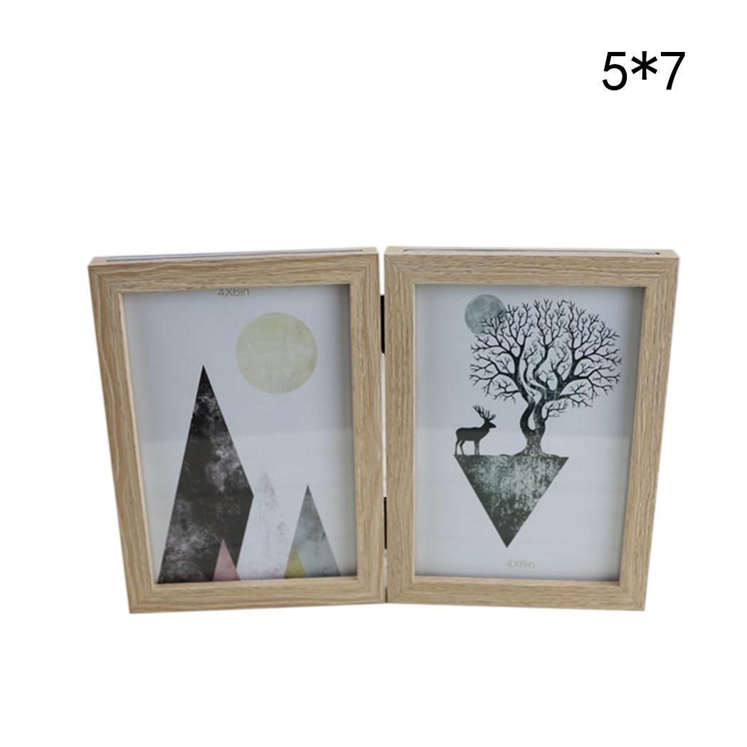 Belle Photo pliante Double face en bois comme cadre Photo décoration de la maison