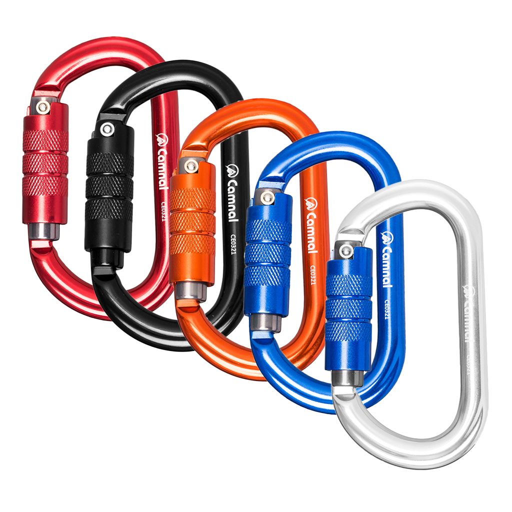 5pcs Durable Rock Auto Lock Carabiner Climbing Rigging Rescue Mountaineering 25KN