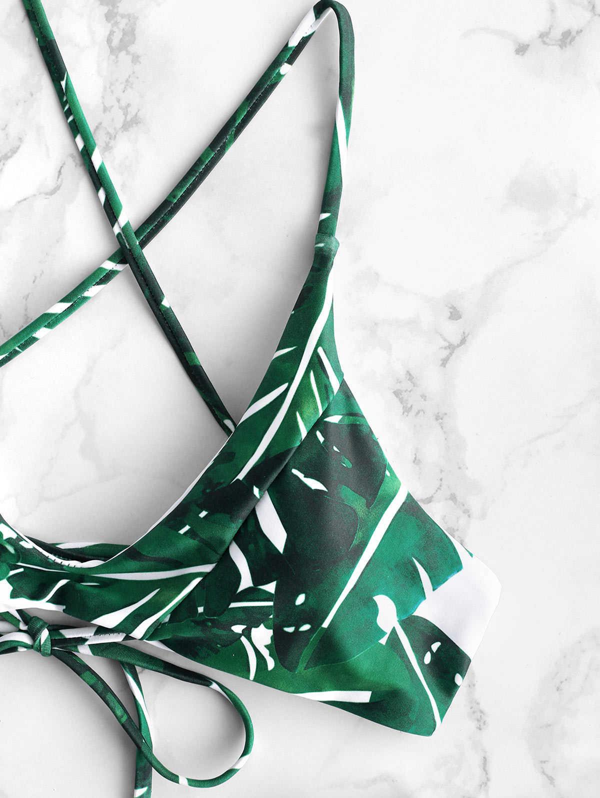 ZAFUL liści palmowych krzyżowe wysoki wzrost Bikini Set Lace-Up Triangle Bikini z Pad lato kobiety Swimsuit Biqinis kostiumy kąpielowe