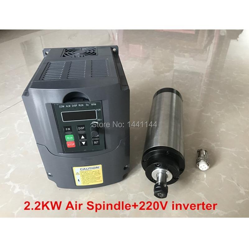 Moteur de CNC de broche refroidi par Air 2.2kw 80mm 2.2 Kw fraiseuse + 220 v Vfd/inverseur