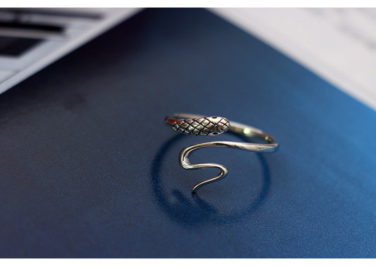925 Sterling Silver Small Snake Open Rings For Women Vintage Style Lady Prevent Allergy Sterling silver jewelry in Rings from Jewelry Accessories