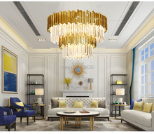 Italy Luxury Modern Crystal Chandelier Double Layers Gold Hanging Lighting Fixtures Living Room Foyer LED E14 Lustres De Cristal luxury gold crystal chandelier for living room dia60 h60cm 9pcs crystals ball led lustres de cristal home decor crystal lamps