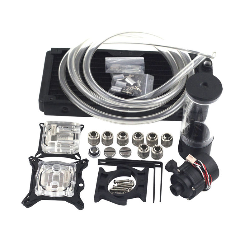 Water Cooling Head Water Colling System Set 240B Radiator + Sc600 Pump + 190Mm Tank + 2M Tube + Cpu Block + Gpu Block With TotWater Cooling Head Water Colling System Set 240B Radiator + Sc600 Pump + 190Mm Tank + 2M Tube + Cpu Block + Gpu Block With Tot