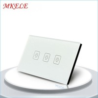 US Standard 3 Gang 1 Way Touch Switch White Crystal Glass Panel Touch Screen Wall Switch Wall Socket