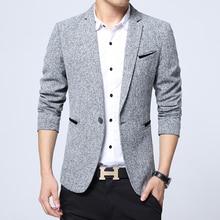 2019 New Spring Autumn thin Casual Men Blazer Cotton Slim England Suit Blaser Masculino Male Jacket Size S-5XL